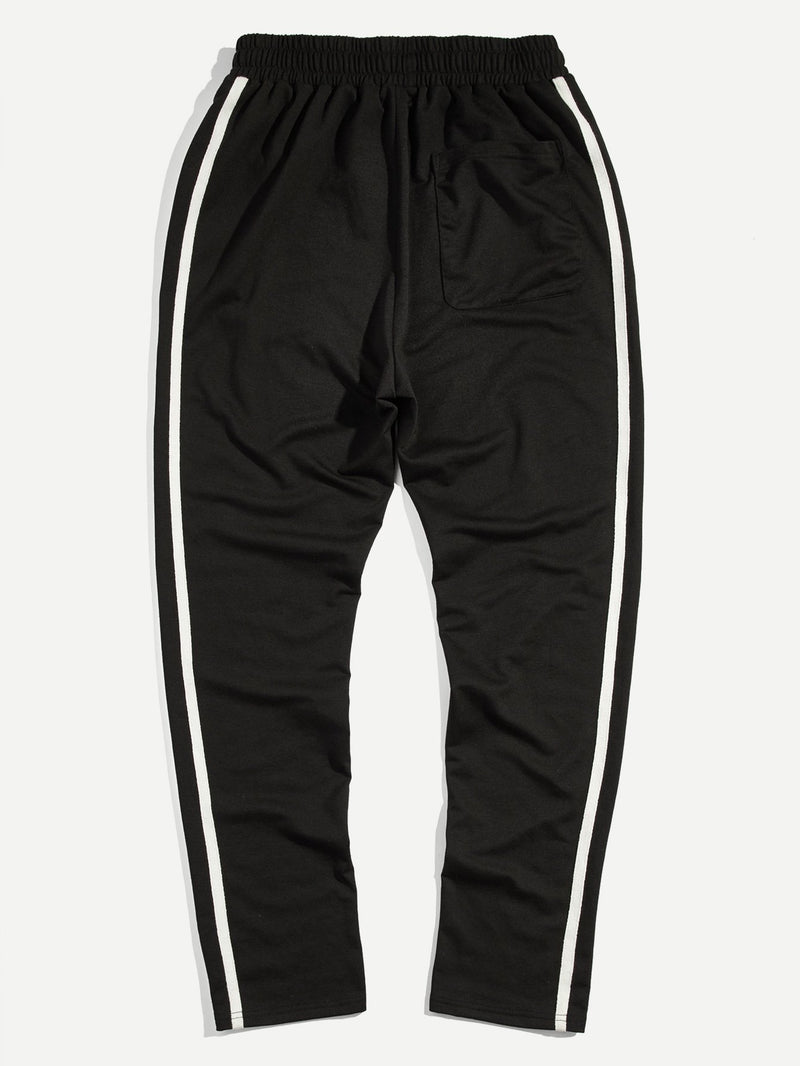 Men Drawstring Waist Striped Side Sweatpants