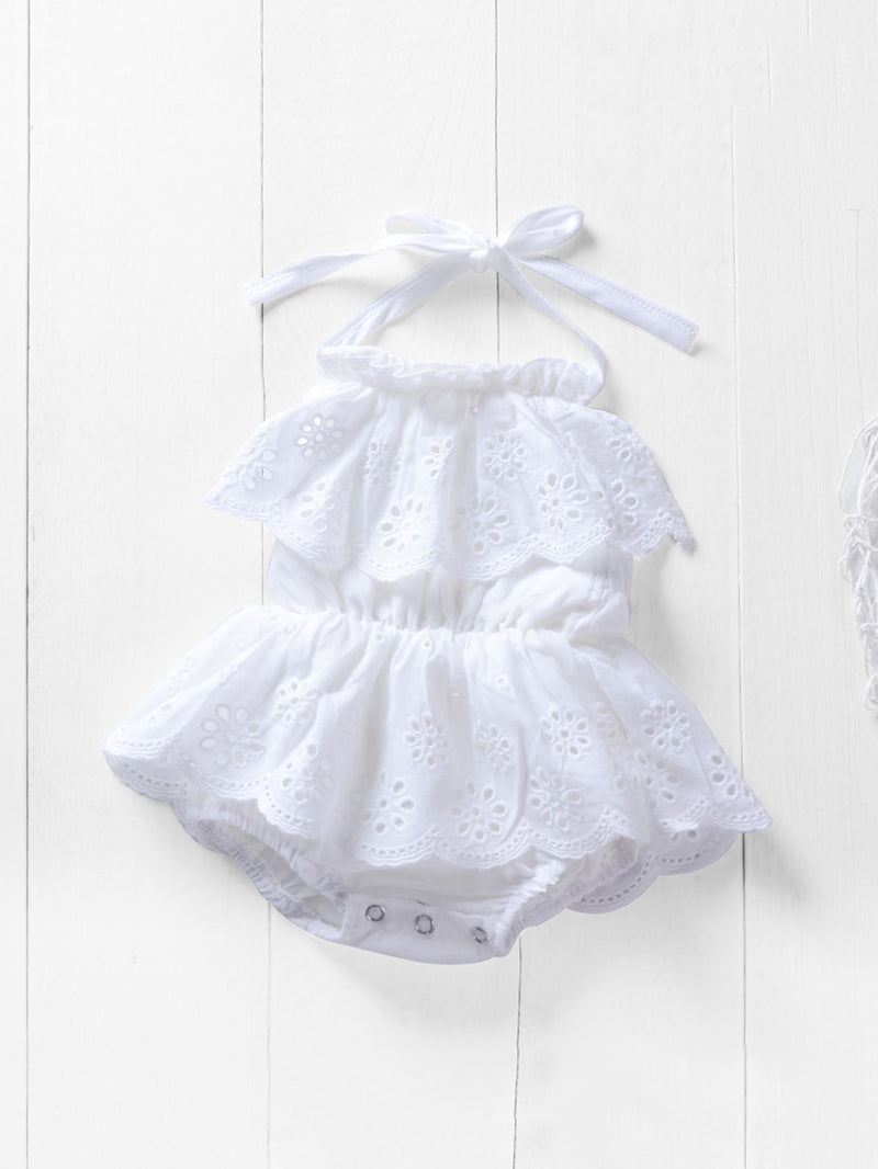 Kids Frill Eyelet Embroidered Romper