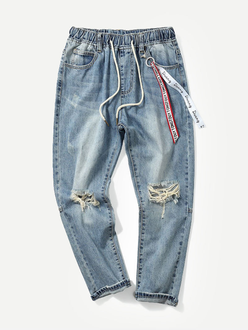Men Drawstring Destroyed Jeans