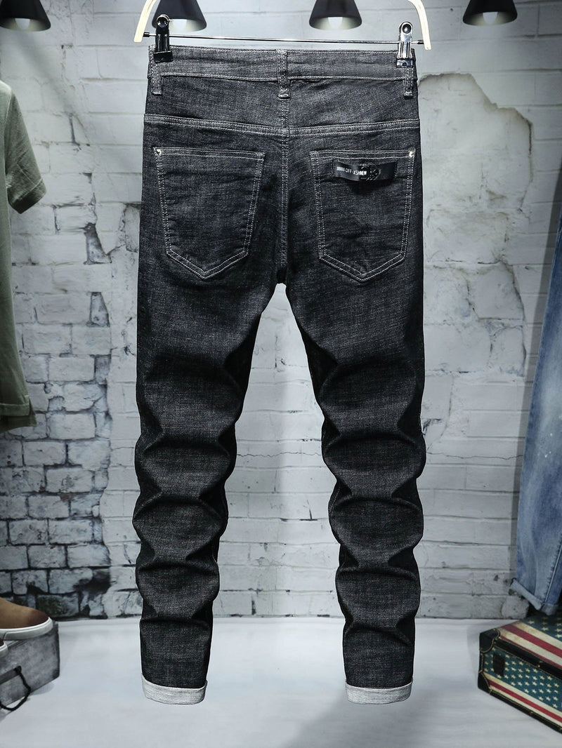 Men Rolled Hem Jeans