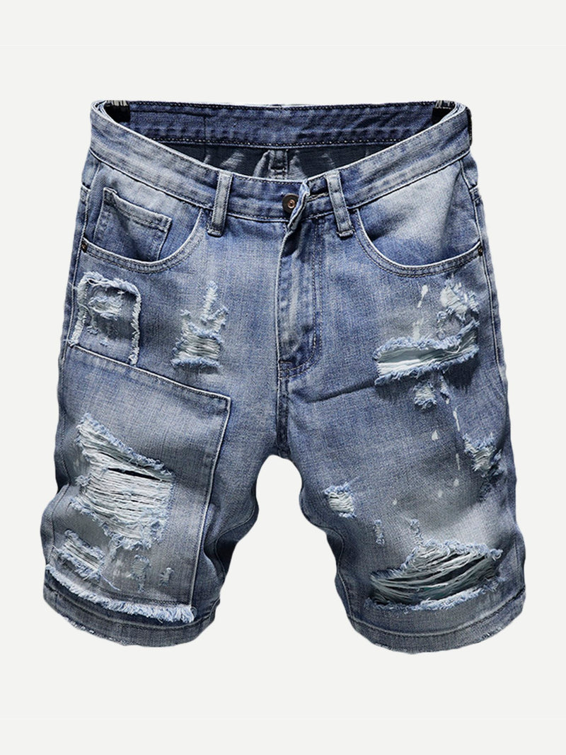 Men Destroyed Denim Shorts