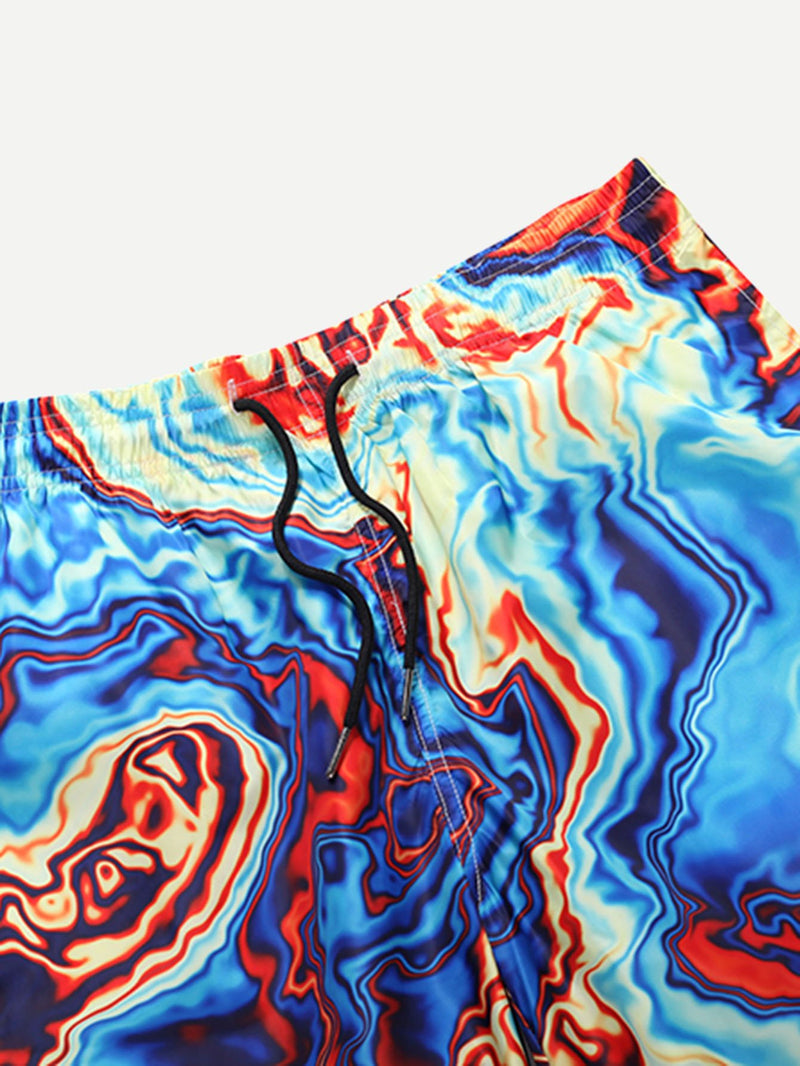 Men Tie Dye Drawstring Beach Shorts
