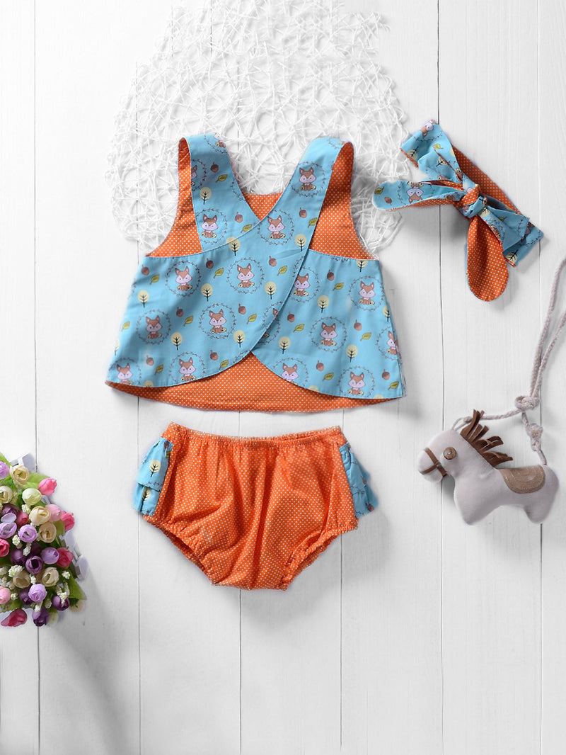 Kids Cross Back Rabbit Print Vest And Polk Dot Shorts With Headband