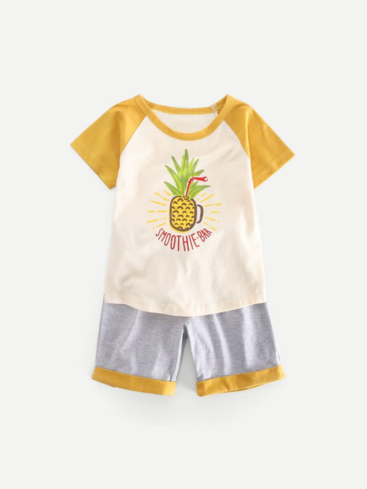 Kids Pineapple Print Tee With Rolled Hem Shorts