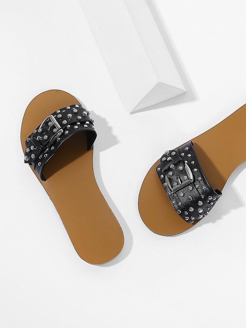 Buckle Front PU Slippers With Studded