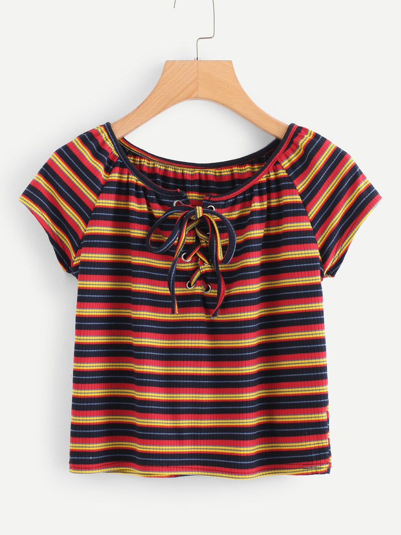 Lace Up Striped T-shirt