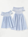 Kids Frill Shirred Striped Dress