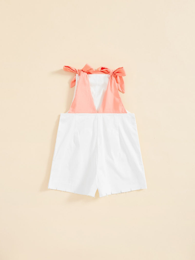 Self Tie Shoulder Raw Hem Romper