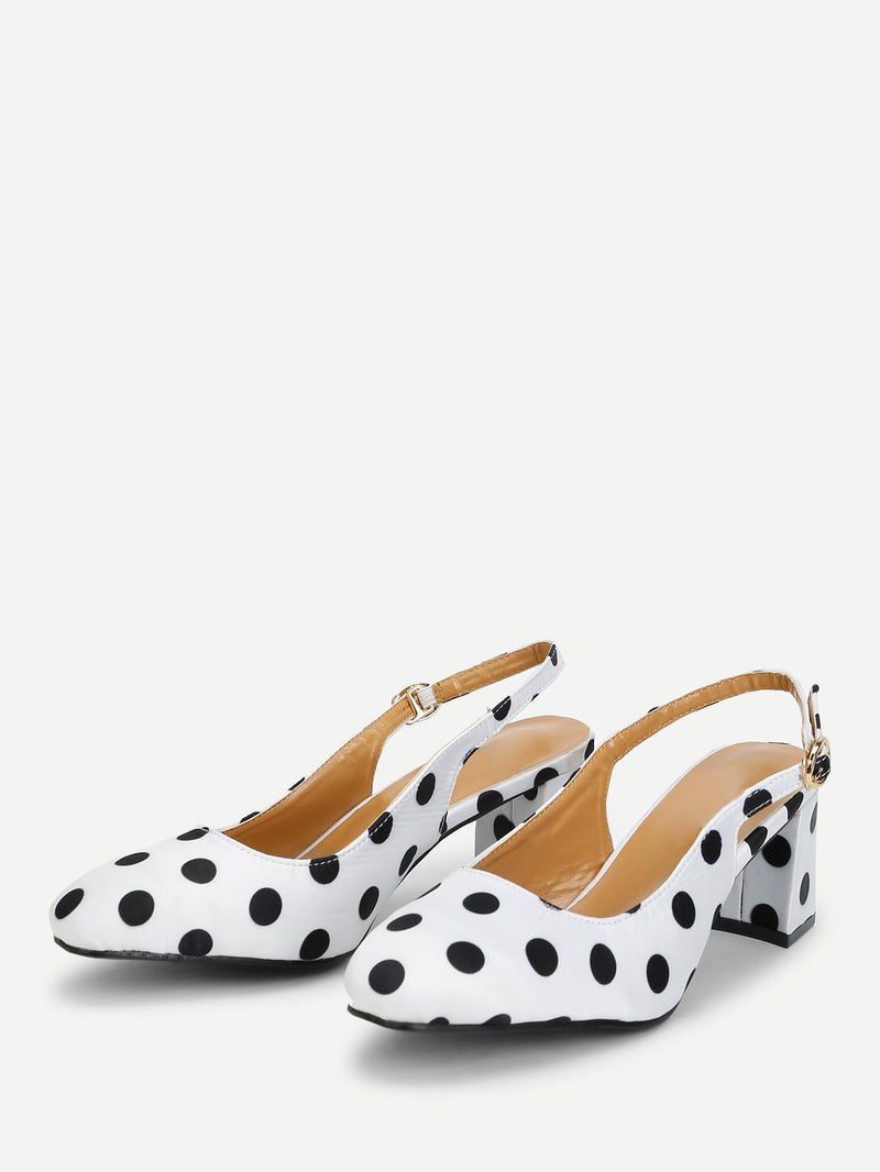 Polka Dot Print Satin Pumps