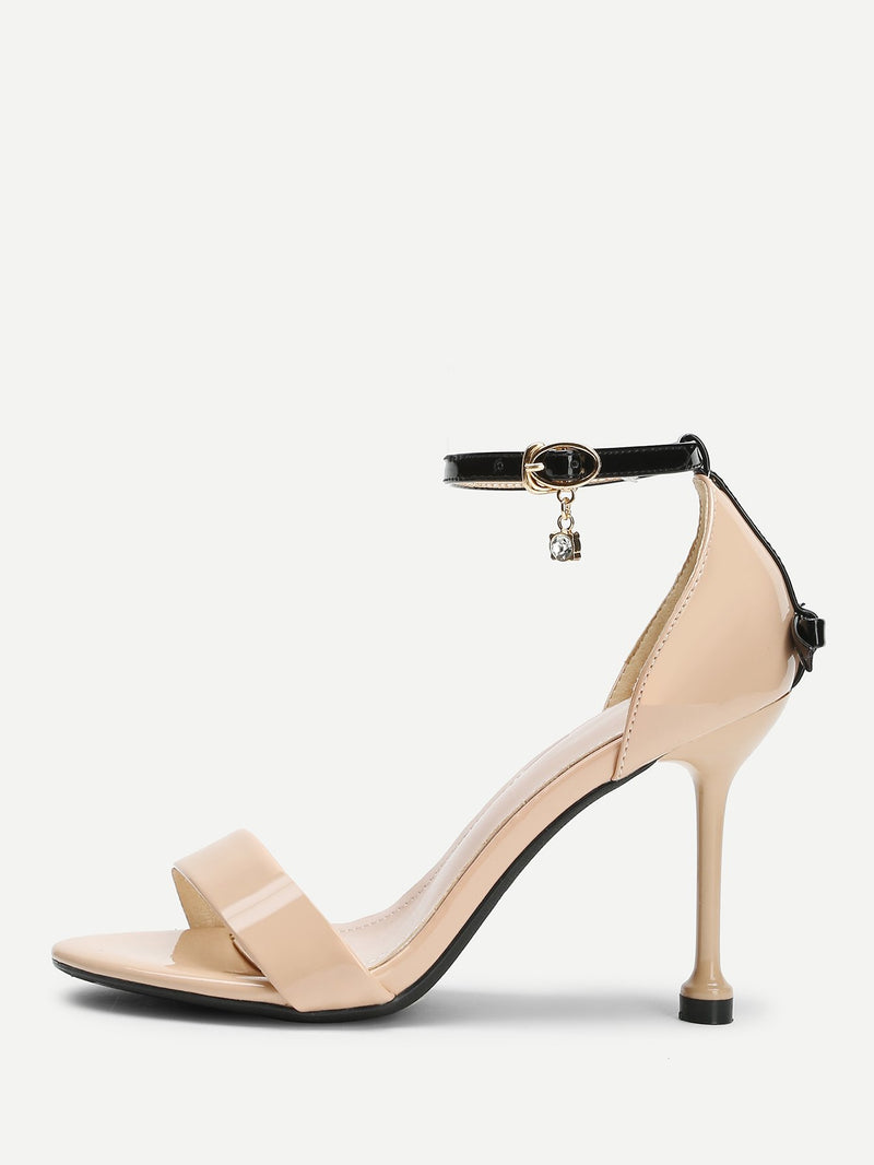 Ankle Strap PU Heels With Bow