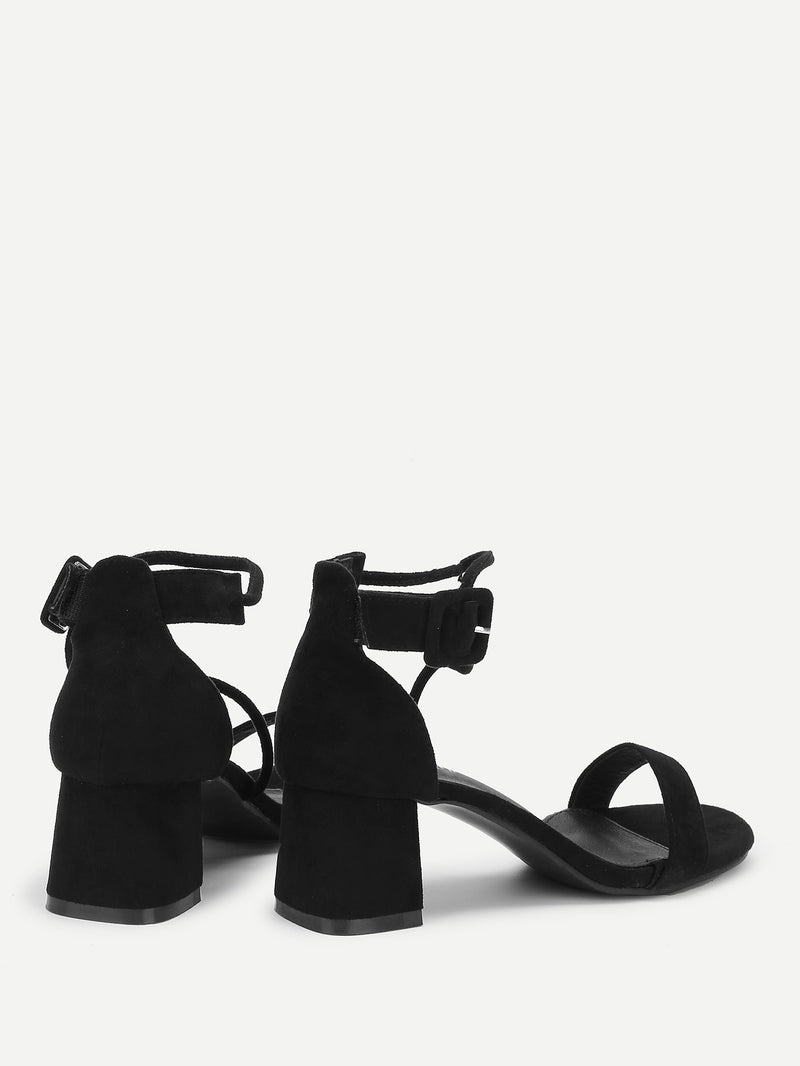 Buckle Strap Block Heeled Suede Sandals