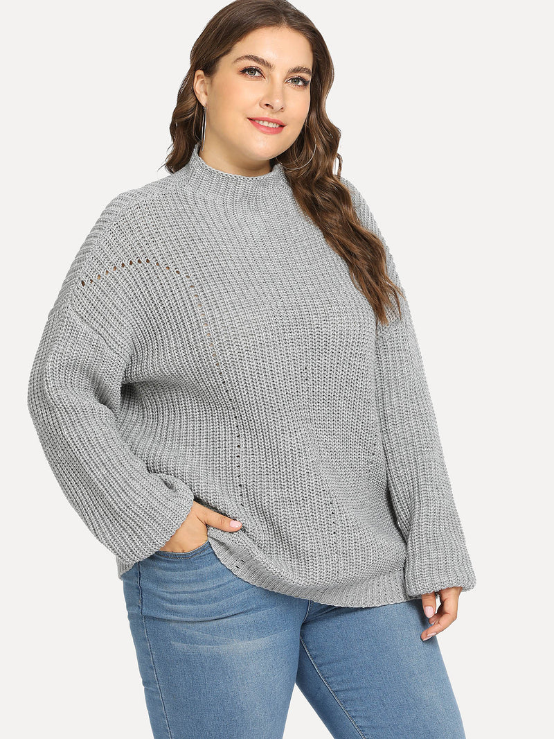 Plus Mock Neck Eyelet Sweater