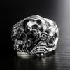 Silver Skull Ring Cross Flower