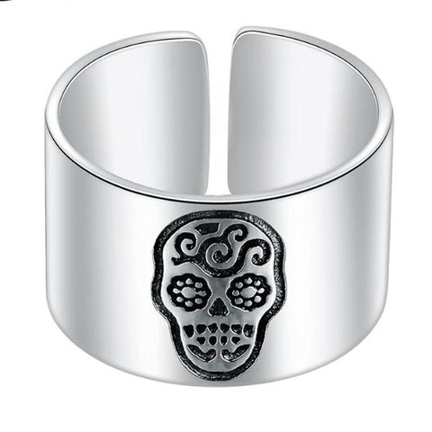 Skull Signet Ring Silver Adjustable