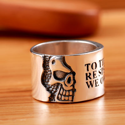 Silver Skull Motto Ring