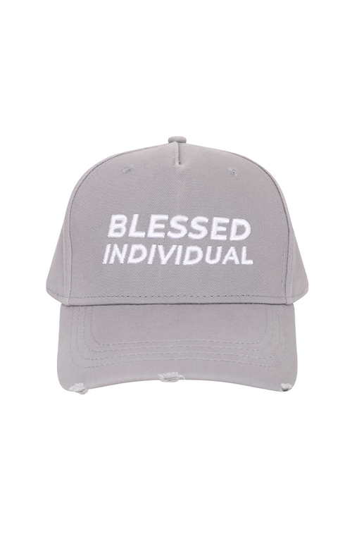 Grey Distressed Hat - Blessed Individual