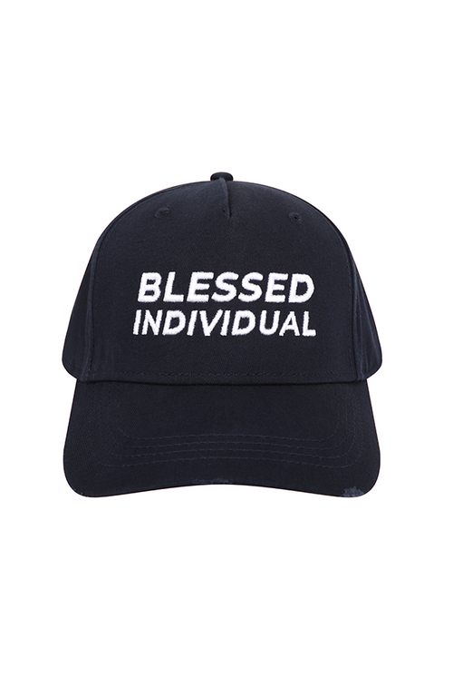 Navy Distressed Hat - Blessed Individual