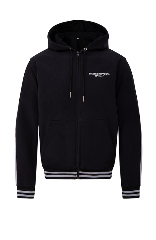 Neoprene Triple Striped Zip Up Hoodie - Blessed Individual