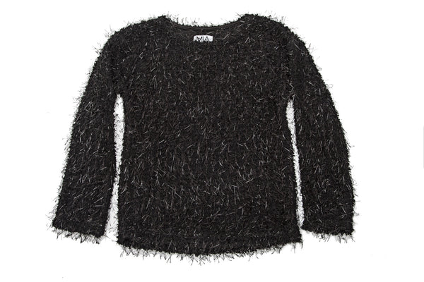 METALLIC FUZZ SWEATER