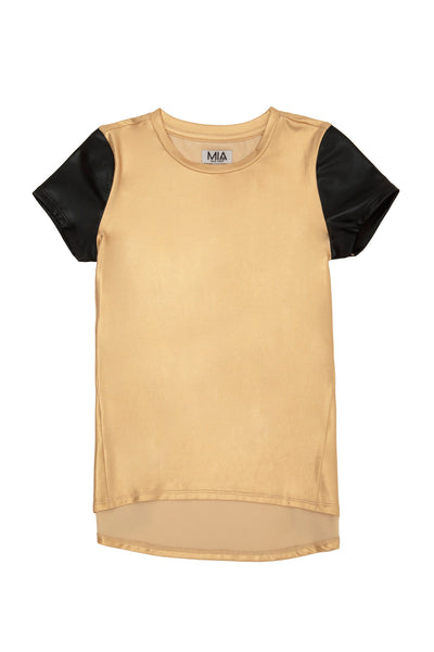 LEATHER SLEEVE TEE GOLD