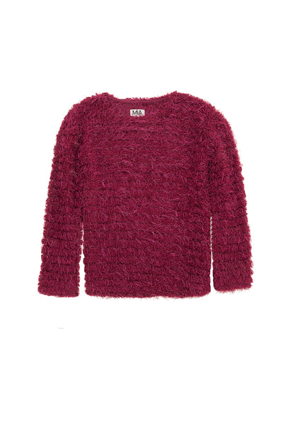 METALLIC FUZZ SWEATER BERRY