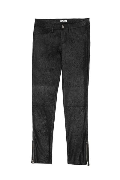 SUEDED CRACKLE PANTS BLACK