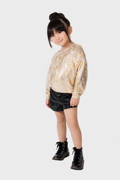 METALLIC SHORTS COATED FRENCH TERRY