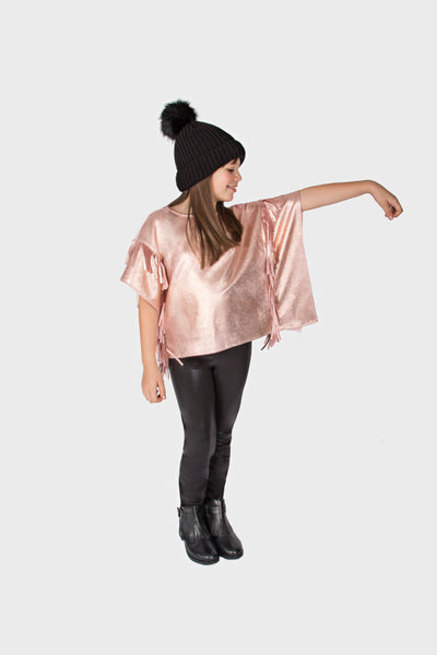 METALLIC SUEDED FRINGE PONCHO