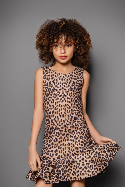 LEOPARD DRESS BROWN