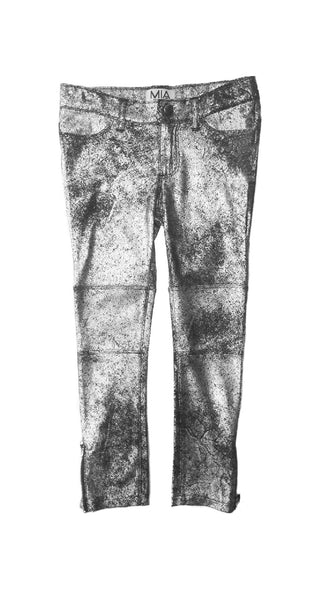 SILVER SUEDED LEATHER PANTS