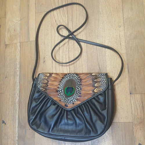 80s Pheasant Feather Purse