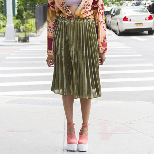 Pleated Shimmer Skirt