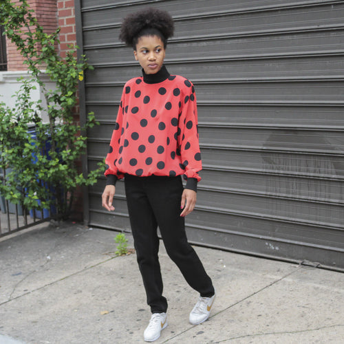 80s Polka Dot Turtleneck Blouse