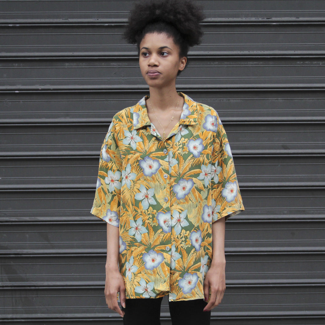 90s Tropical Floral Silk Shirt