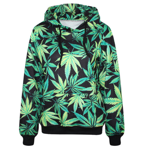 2016 Harajuku Hoodies Women Pullovers Print Weeds Green Leaves 3D Women Hooded Sweatshirt With Pockets