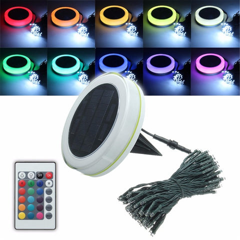 Solar Power 10M RGB Fairy Light Outdoor Lighting Lamp LED String Light Waterproof With Remote Control Christmas Decor
