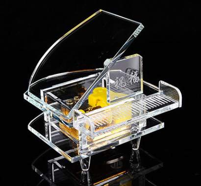Crystal Glass Music Box - Piano