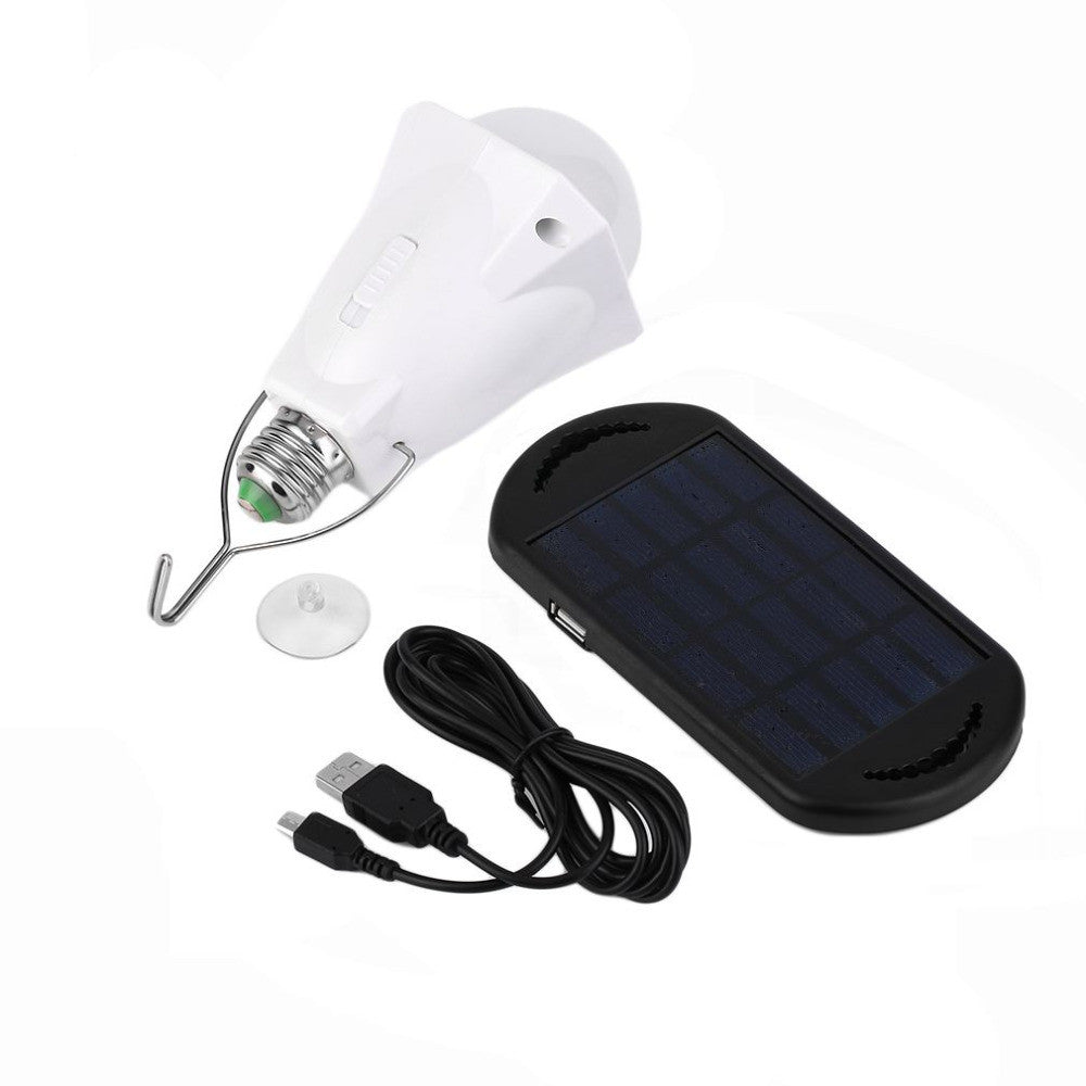 Portable Energy Conservation 200LM LED Bulb Light with Solar Panel + USB Charging Line Outdoor Camping Tent Fishing Emergency