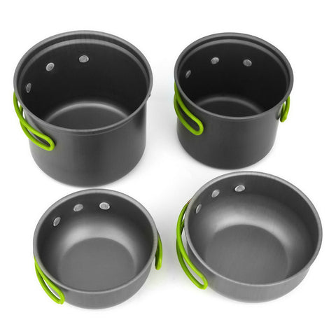 4pcs Non-stick Pots Pans Bowls Portable Outdoor Camping Hiking Cooking Set Cookware free shipping