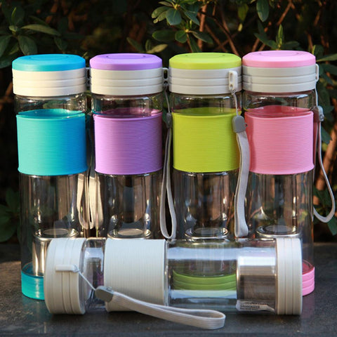 NEW Healthy Portable Travel Sport Tea Water Seal Bottle with Filter Strainer 550ml Travel Bottle With Seal pink Bottles 5 colors