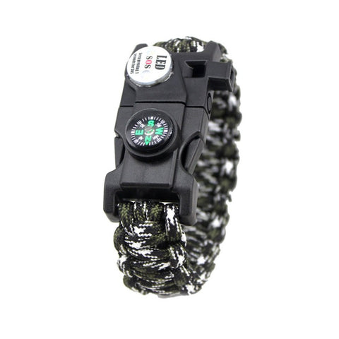 EMAK 20 In 1 Waterproof Survival Bracelet SOS LED Light Multifunctional Design Outdoor Camping Hiking Survival Bracelet Tool Hot