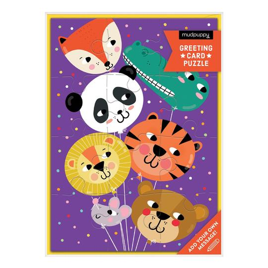 Mudpuppy Greeting Card Puzzle: Animal Balloons