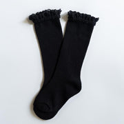 Little Stocking Co. Lace Top Knee High Socks: Black