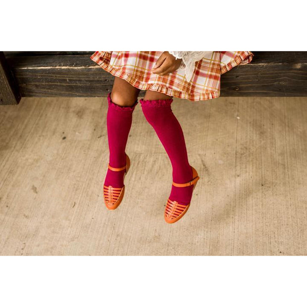 Little Stocking Co. Lace Top Knee High Socks: Berry