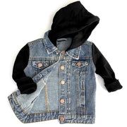 Little Bipsy Hooded Denim Jacket: Black