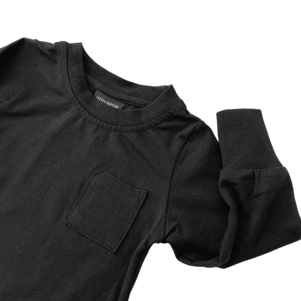 Little Bipsy Long Sleeve Pocket Tee: Black
