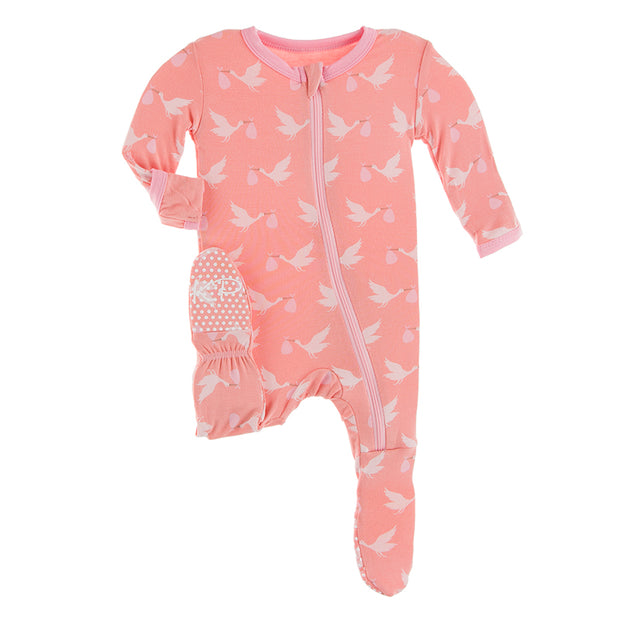Kickee Pants Footie with Zipper: Blush Stork