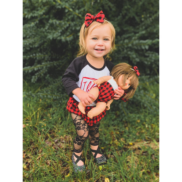 Little Lopers Print Linen Darling Bow: Buffalo Plaid