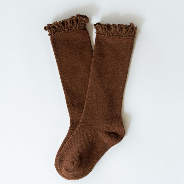 Little Stocking Co. Lace Top Knee High Socks: Chocolate
