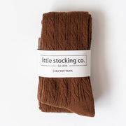 Little Stocking Co. Cable Knit Tights: Chocolate